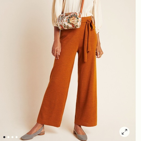 Anthropologie Pants - Anthropologie sweater wide leg crop pants - M